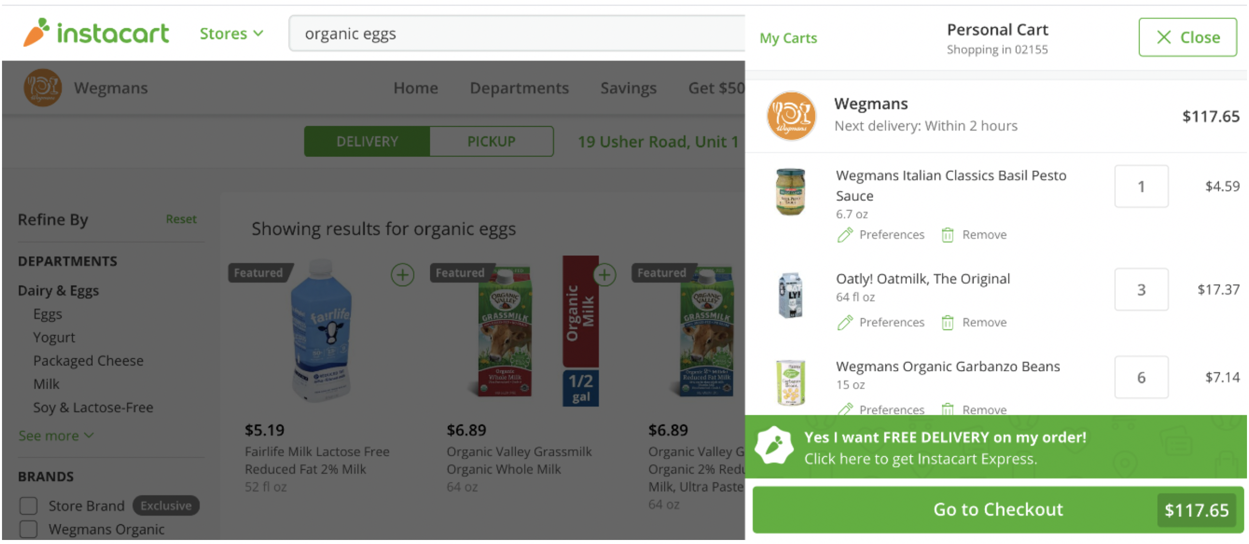 Covid19 Grocery Store Design - instacart shopping screenshot