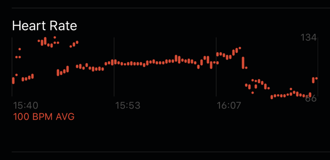An example Apple Activity heart rate graph.